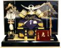 【五月人形】久月作 家紋「上杉謙信 銀小札黒絲縅兜」 平飾り(1557)
