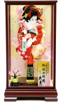 当日発送可:【羽子板】久月作 さがの振袖 赤桜 うさぎ春路ケース飾り(16030-1)