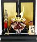 【五月人形】伯峰監修 「貫前彫金 鋲打ち兜」二曲金屏風平飾り(17F-09)