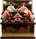 【雛人形】吉徳大光 駿河塗「花ひいな」五人 収納式三段飾り(306-017)