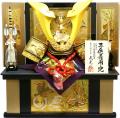 【五月人形】武光作 木彫り金箔龍頭「立体大鍬形 子供着用兜」収納飾り(3163)