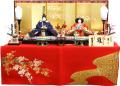 【雛人形】久月 横山薫作 刺繍「雛」 親王毛氈平飾り (3347)