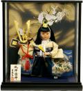 【五月人形】吉徳大光作 子供大将「風神雷神」武者人形ケース飾り(503-202)