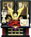 【五月人形】武光作 「立体乗金具付貫前兜」二曲屏風収納飾り(902)