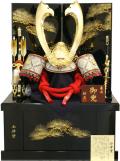 【五月人形】祐月作 会津塗「京」大鍬形 着用兜 収納飾り(505)