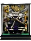 【五月人形】久月作 「伊達政宗 銀兜」 ケース飾り(K51721)