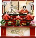 【雛人形】久月作 刺繍「よろこび雛」 収納式 三段飾り (S-29233)