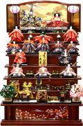 【雛人形】 久月作 「よろこび雛」木製 七段飾り(S-29521)