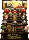 【雛人形】 久月作 「よろこび雛」木製 七段飾り(S-29522)