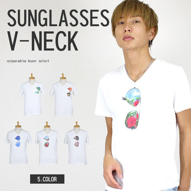 サングラス Vネック 半袖 Tシャツ メンズ ポケット (men's/メンズ)