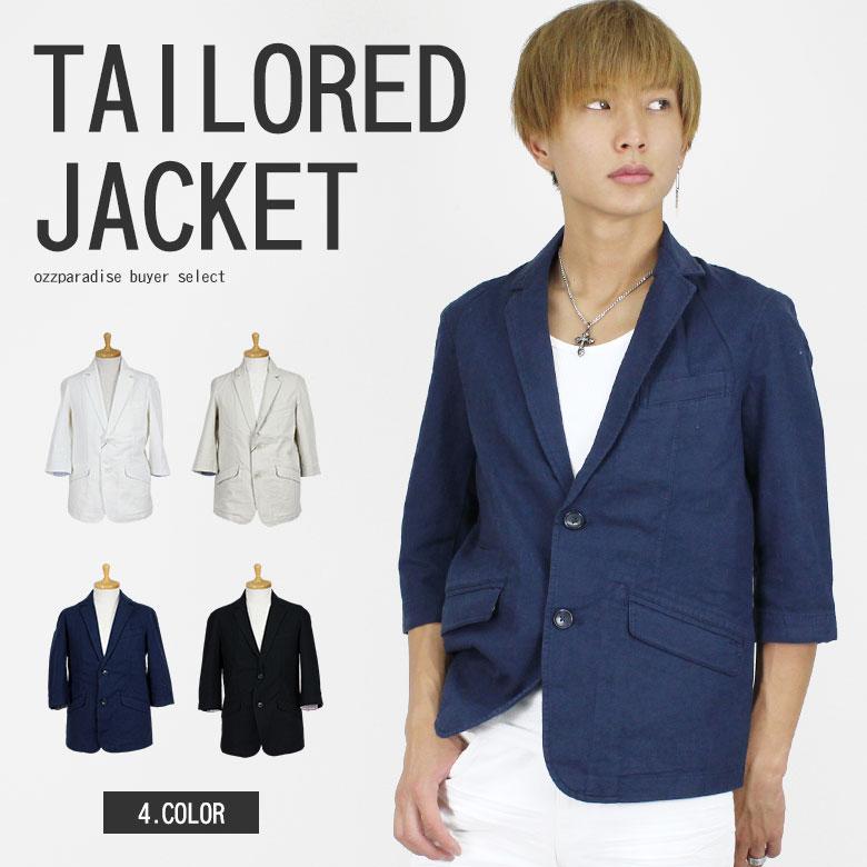 綿麻 テーラード ジャケット 7分袖 (men's/メンズ)