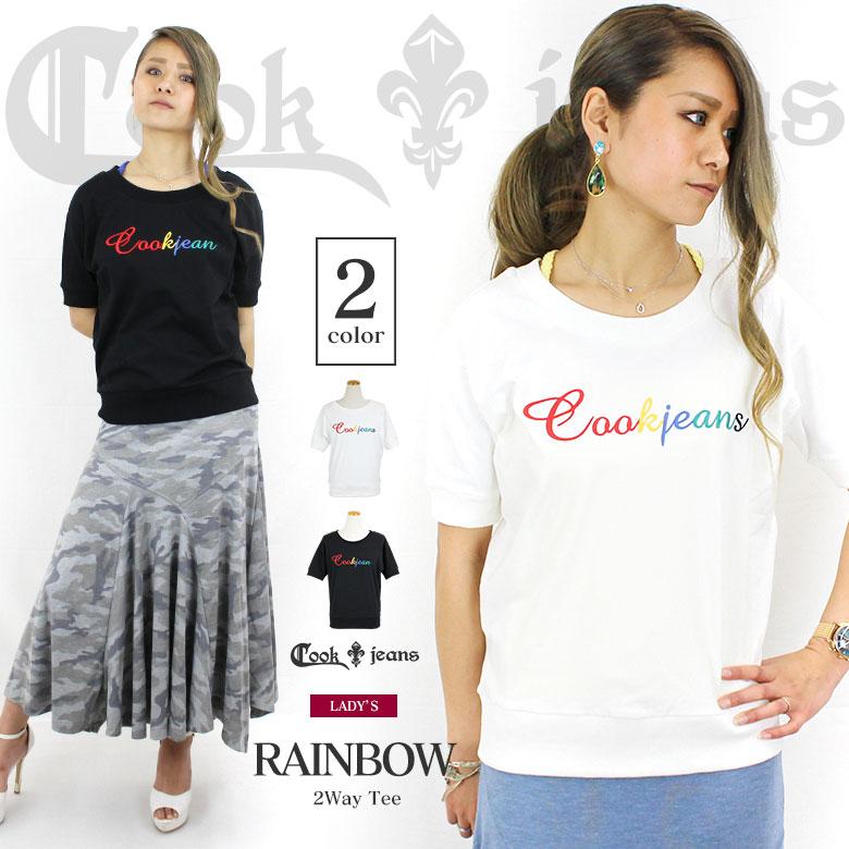 COOKJEANS クックジーンズ レインボー 刺繍 半袖 Tシャツ(Lady's/レディース)