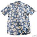 メンズアロハシャツ半袖(ボタンダウンシャツ)/Japonica hibiscus