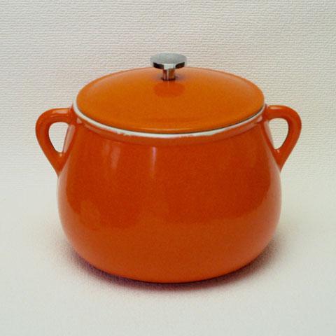 フランス ブロカント 鍋 (ビーンズ ポット) オレンジ