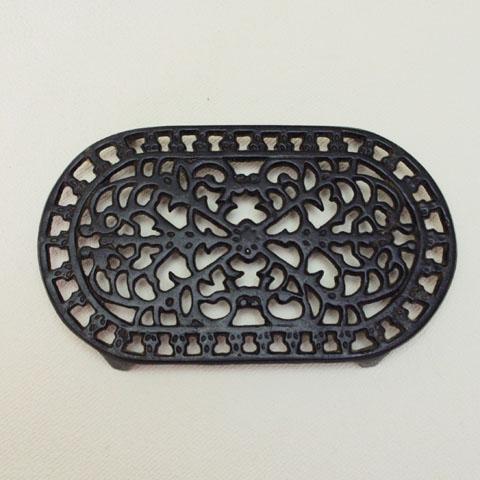 フランスブロカント ホウロウ鍋敷き(黒)