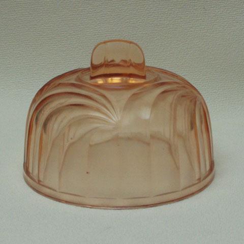 フランス ブロカント ピンクガラス クロッシュ