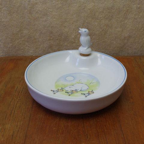 フランスブロカント ベビー皿(猫とねずみ)