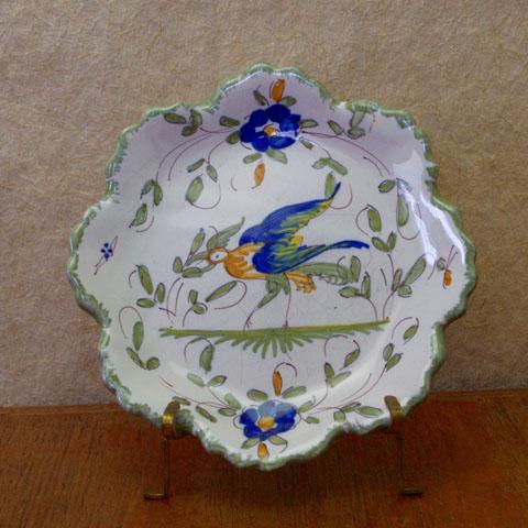 フランス ブロカント  花形 小皿(ブルー)