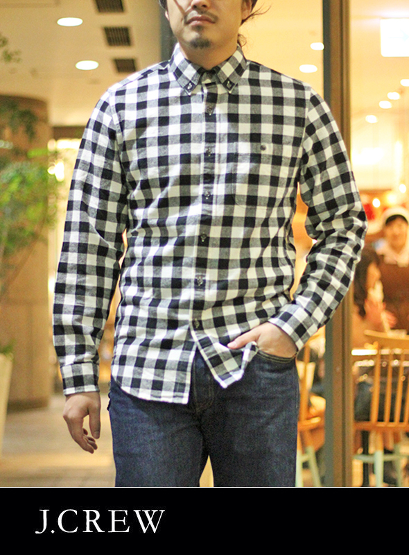 J.CREW ジェイクルー BLOCK CHECK B.D SHIRTS BLACK/WHITE
