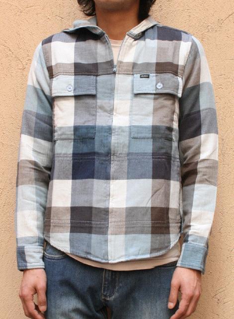 RVCA ルカ  Double Doo Shirts ブロックチェックフードシャツ COL