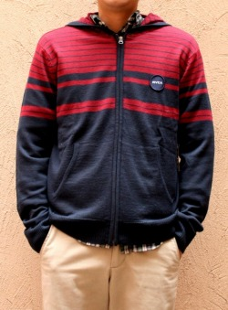 RVCA ルカ  ボーダーニットパーカー NVY/RED SALE 30%OFF