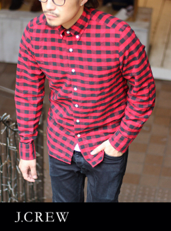 J.CREW ジェイクルー BLOCK CHECK B.D SHIRTS BLACK/RED