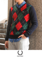 FRED PERRY �ե�åɥڥ ���������� V-Neck Sweater(K1327)