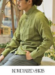 INDIVIDUALIZED SHIRTS ����ǥ��������奢�饤���ɥ����  LINEN STANDARD FIT BD SHIRT GREEN