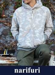 narifuri �ʥ�ե� Camouflage boa zip parka��NF853��