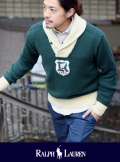 POLO RALPH LAUREN ポロ ラルフローレン SHAWL COLLAR  EMBLEM KNIT グリーン