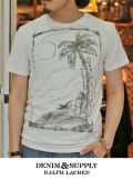 DENIM&SUPPLY by Ralph Lauren パームツリー×マーメイド S/S TEE OFF WHITE