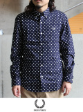 FRED PERRY ドットプリントシャツ NVY