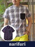 narifuri ナリフリ Bias check short sleeve shirt (NF925)