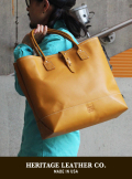 【HERITAGE LEATHER】 MOCCASIN LEATHER TOTE BAG YELLOW