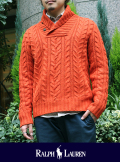 POLO RALPH LAUREN ポロ ラルフローレン SHAWL COLLAR CABLE KNIT オレンジ