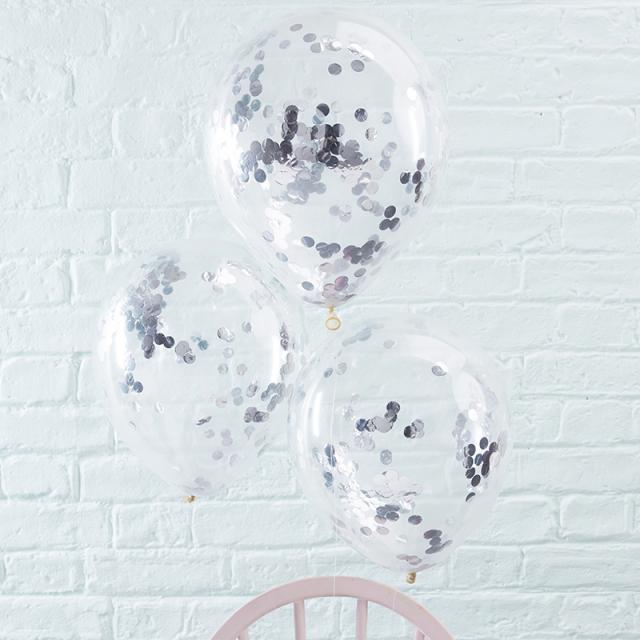 ジンジャーレイ/紙吹雪バルーン/Silver Confetti Filled Balloons