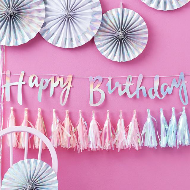 ジンジャーレイ/ガーランド/Iridescent Script Happy Birthday Bunting
