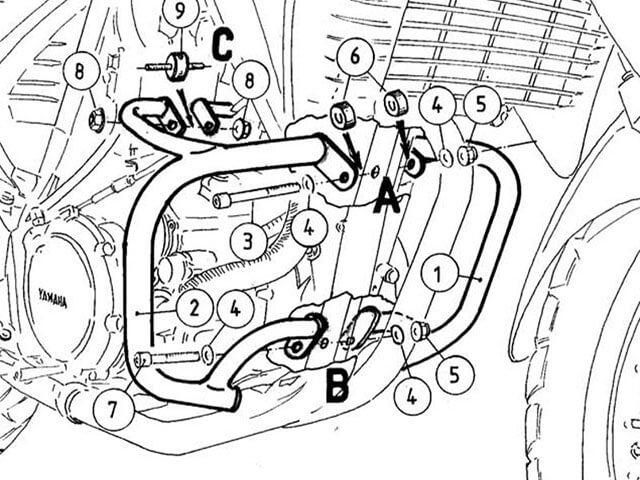 ヘプコ&ベッカー 正規品 エンジンガード YAMAHA XT660 R / X ブラック P&A