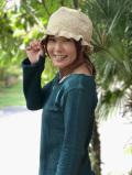 asana HEMP100% 手編み帽子・きなり
