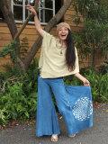asana×Chill Batik ロングワイドパンツ