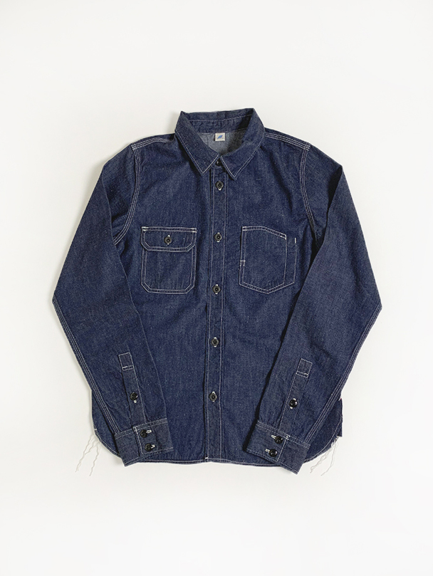 [2201 C/#1] 8oz. Selvedge Denim Chinstrap Work Shirt (Indigo)