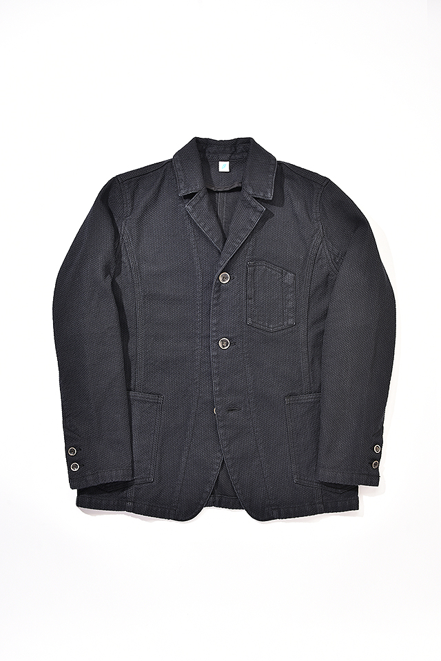 [6075-BB] Sashiko Tailored Work Jacket (Double Black)