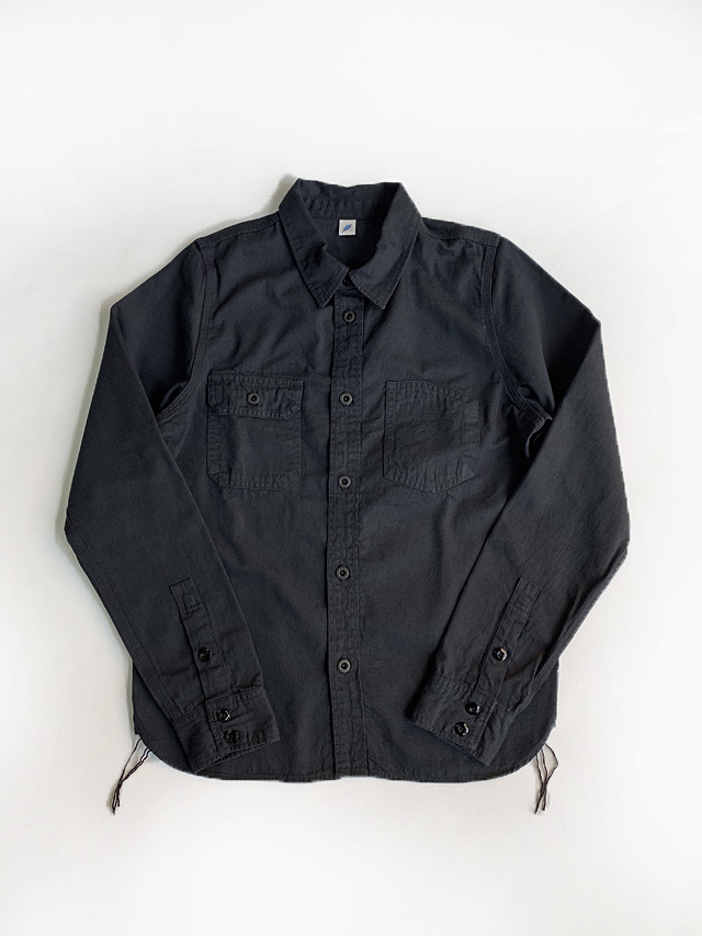 [2201 C/#2] 8oz. Selvedge Denim Chinstrap Work Shirt (Black)