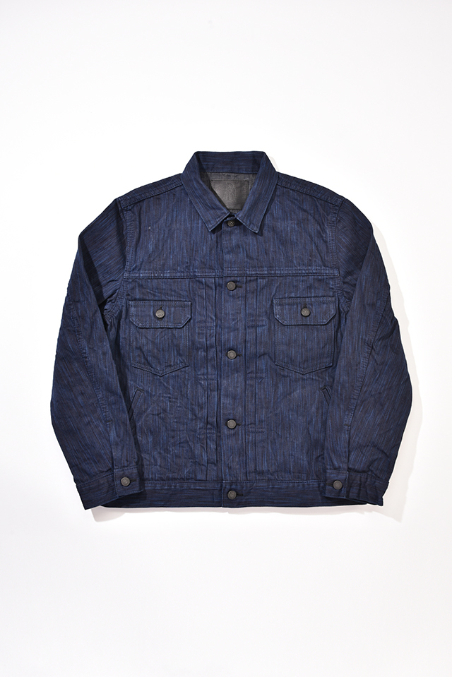 [6070] 17.5oz. Natural Indigo x Sumi Ink Hand Dyed Denim Type 2 Jacket