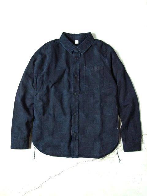 [LS-2184] パッチワークジャカード長袖シャツ