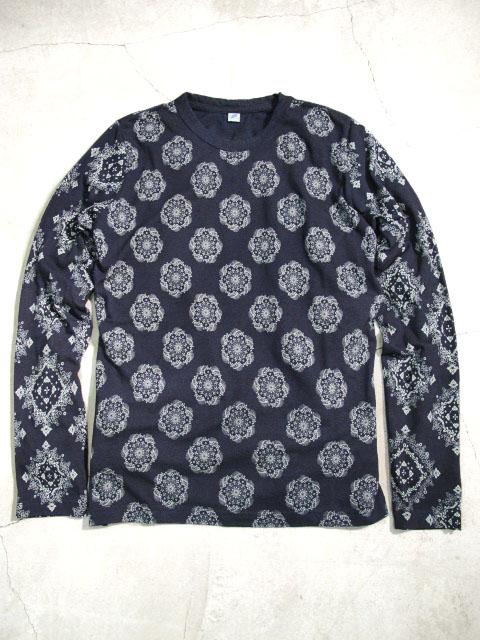 [LS5329] インディゴ先染め 抜染プリント長袖Tシャツ / 小紋