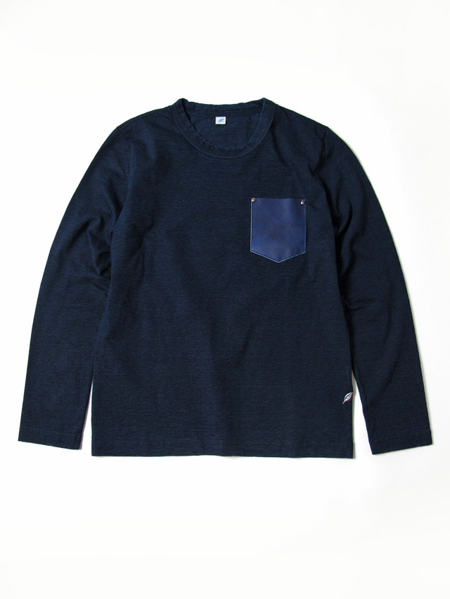 [LS-5352] Indigo Washable Cowhide Pocket Long Sleeve T-shirt