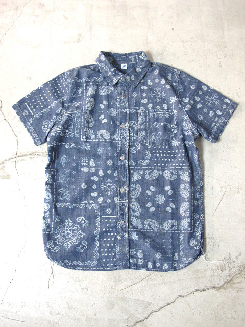[SS-2188] Paisley Discharge Print Chambray Short Sleeve Shirt