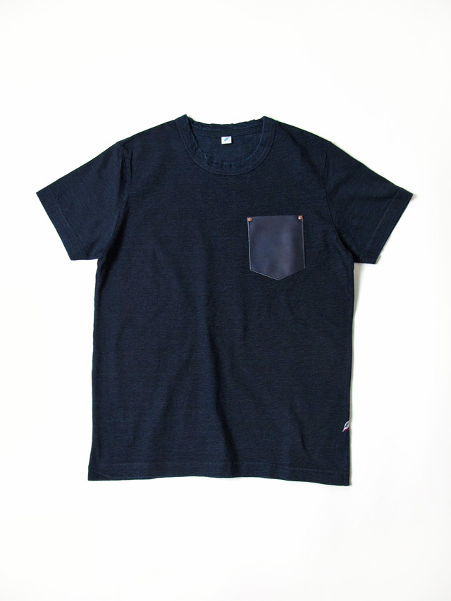[SS-5352] Indigo Washable Cowhide Pocket Short Sleeve T-shirt