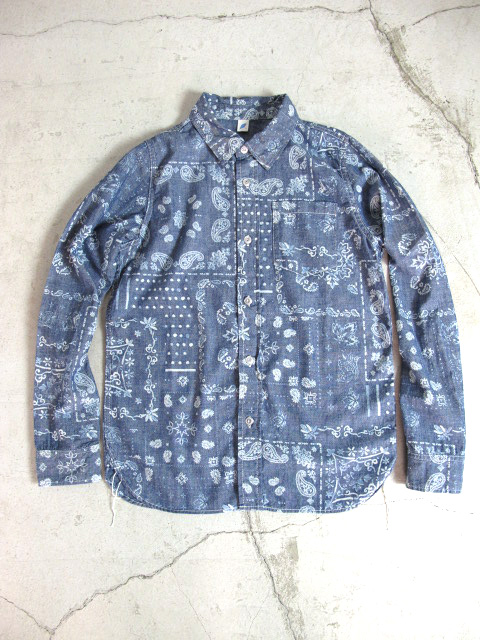 [LS-2188] Paisley Discharge Print Chambray Long Sleeve Shirt